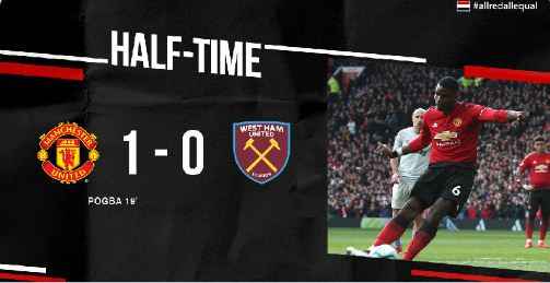 HT: Manchester United vs West Ham 1-0 Highlights