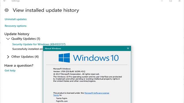 Pembaruan Windows 10 1709 Build 16299.431 Telah Tersedia (KB4103727)