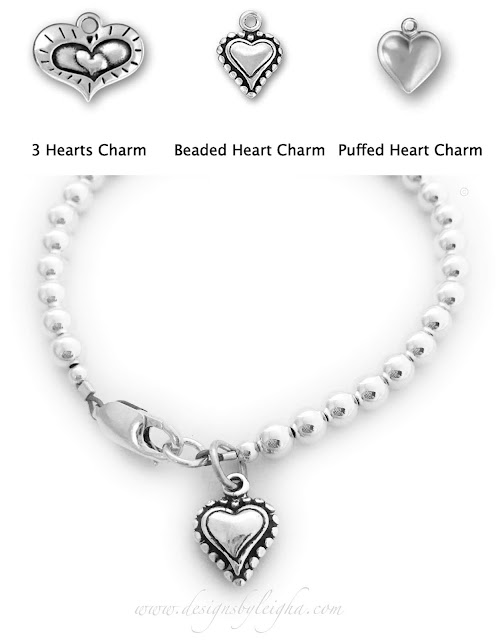 This Heart Bracelet is shown with a Beaded Heart Charm and shown with a lobster claw clasp.