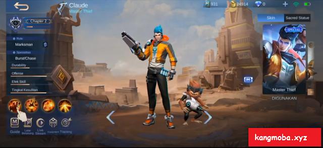 Script Skin Claude MSC Earth's Mightiest Full Effect Mobile Legends