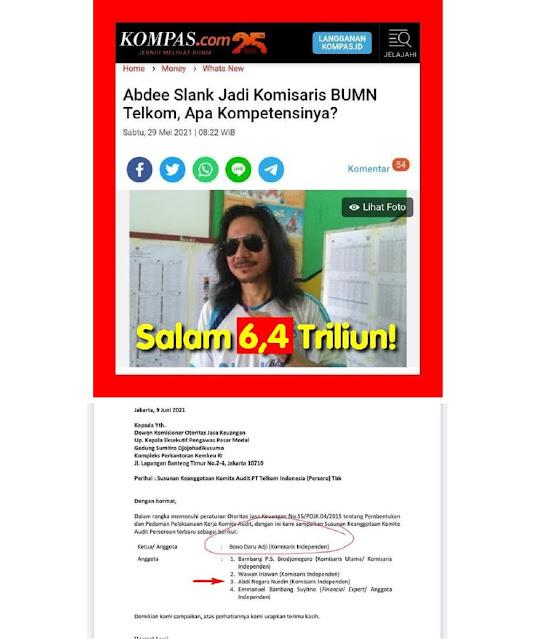 """SEPERTI SUDAH DIDUGA..!! Komisaris Abdee Slank Masuk Anggota """"Komite Audit"""" PT Telkom, Ketuanya Lebih Mencengangkan Lagi"""