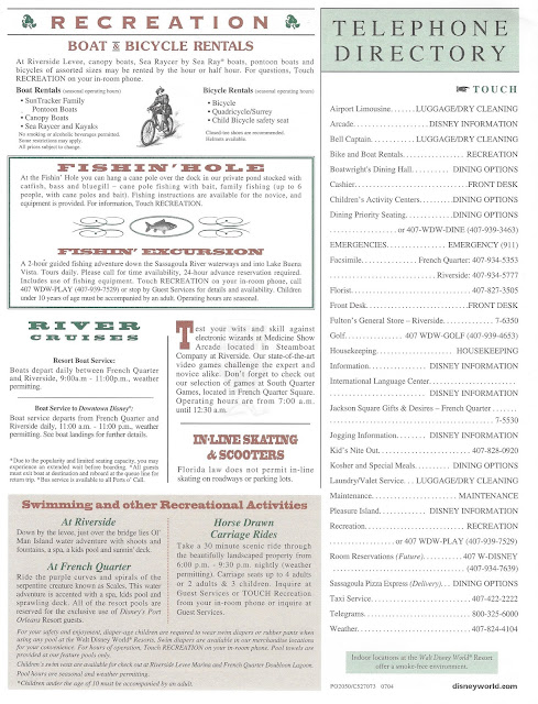 Disney's Port Orleans Recreation Guide 2004