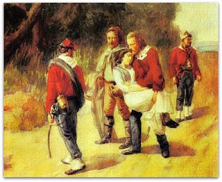 'Garibaldi e Anita, Ferida, Fogem de San Marino' - Anônimo (1849)
