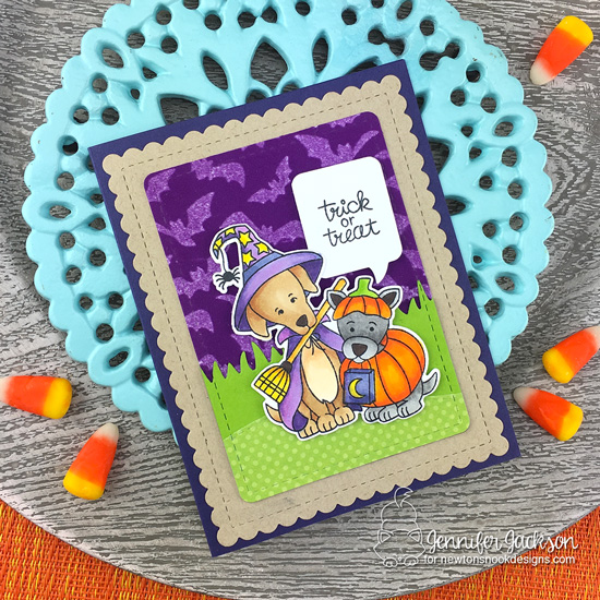 Newton's Nook Designs & Therm O Web Inspiration Week - Bunny Halloween card by Jennifer Jackson | Flying Bats Stencil and Happy Howl-oween Stamp Set by Newton's Nook Designs | Flock Transer Sheets by Therm O Web #newtonsnook #thermowe