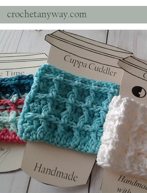 mixed colors of crochet waffle stitch coffee cup sleeve