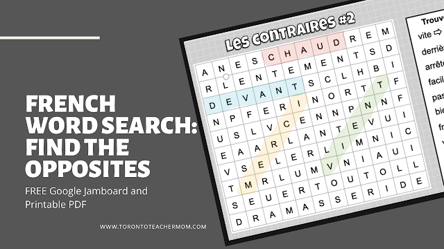 French word search - les contraires mots-cachés #aimlang - Google Jamboard and PDF