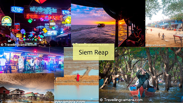 Siem Reap is a great place to spend a week in. You can simply roam the streets, enjoying the pub street, the happening and huge night market. You can shop for clothes and souvenirs till you run out of money. You can try ice-cream rolls. You can walk along the tiny river or admire the beautiful fairy lights. If you have time, you can organize a trip to the floating village or the Angkor Wat. Actually even a week isn't enough to explore Siem Reap, although in size the city is much smaller than Phnom Penh.