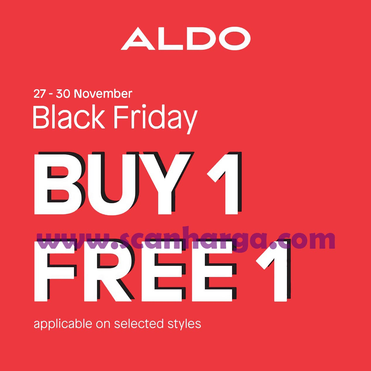 Promo ALDO Shoes Black Friday: Buy 1 Get 1 Free on Selected Styles