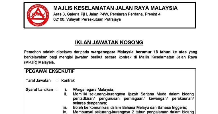 Jawatan Kosong di Majlis Keselamatan Jalan Raya Malaysia