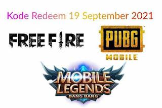 Kode Redeem FF, ML, PUBG Hari Minggu 19 September 2021