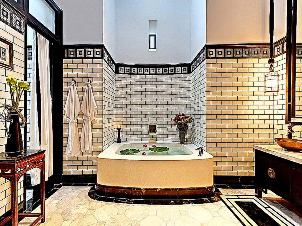 Oriental Style Bathroom Design Ideas: Unique Bathroom Wallpaper Borders