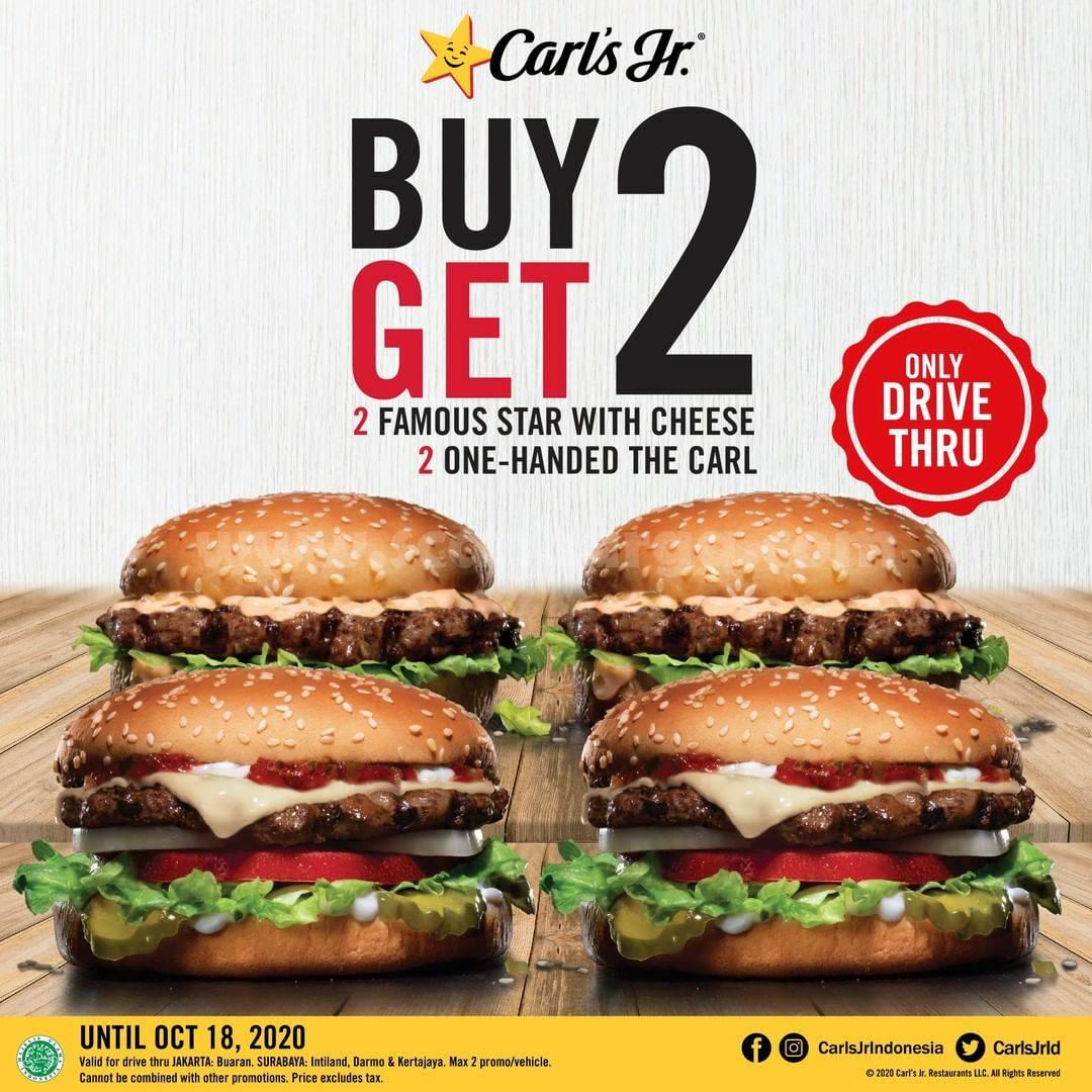 Promo CARL'S JR GRATIS 2 ONE-HANDED setiap pembelian 2 FAMOUS STAR WITH CHEESE via Drive Thru