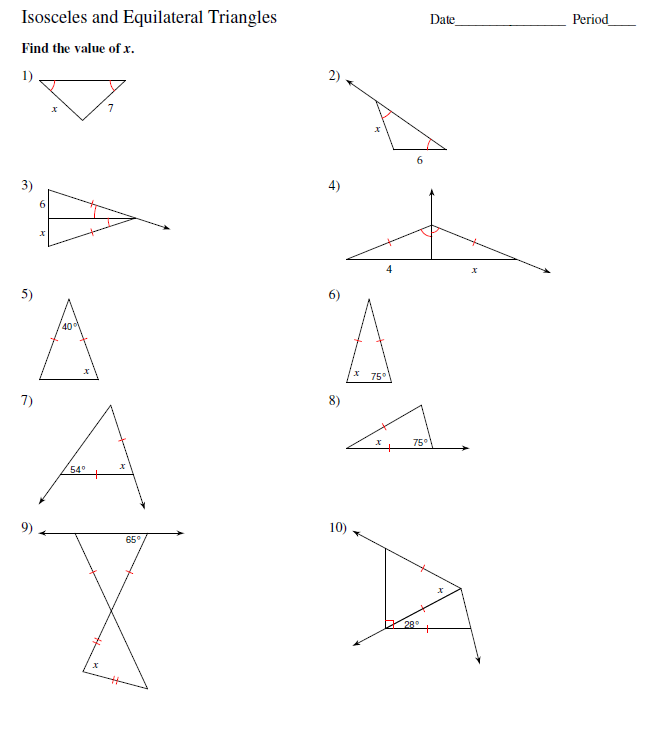 Scalene Isosceles And Equilateral Triangles Worksheets