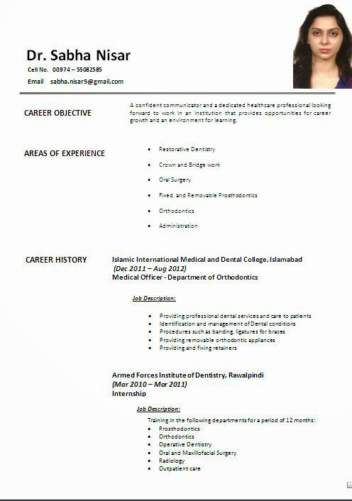 dental resume sample india