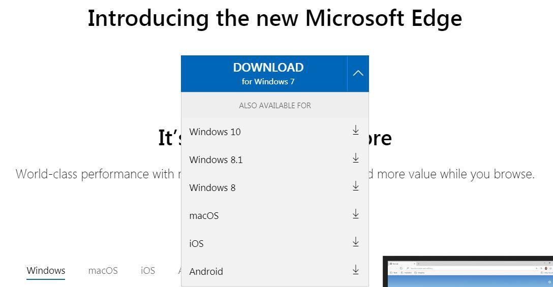 تحميل متصفح مايكروسوفت ايدج لويندوز 7
