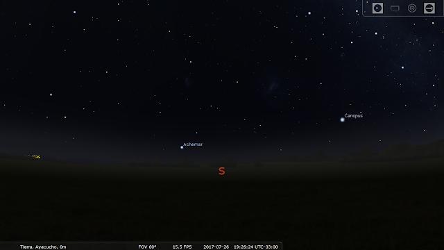 Pantalla inicial Stellarium