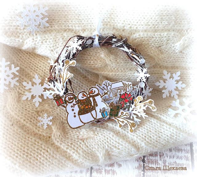 венок, снеговик, подарки, домики,зимний, новыйгод,