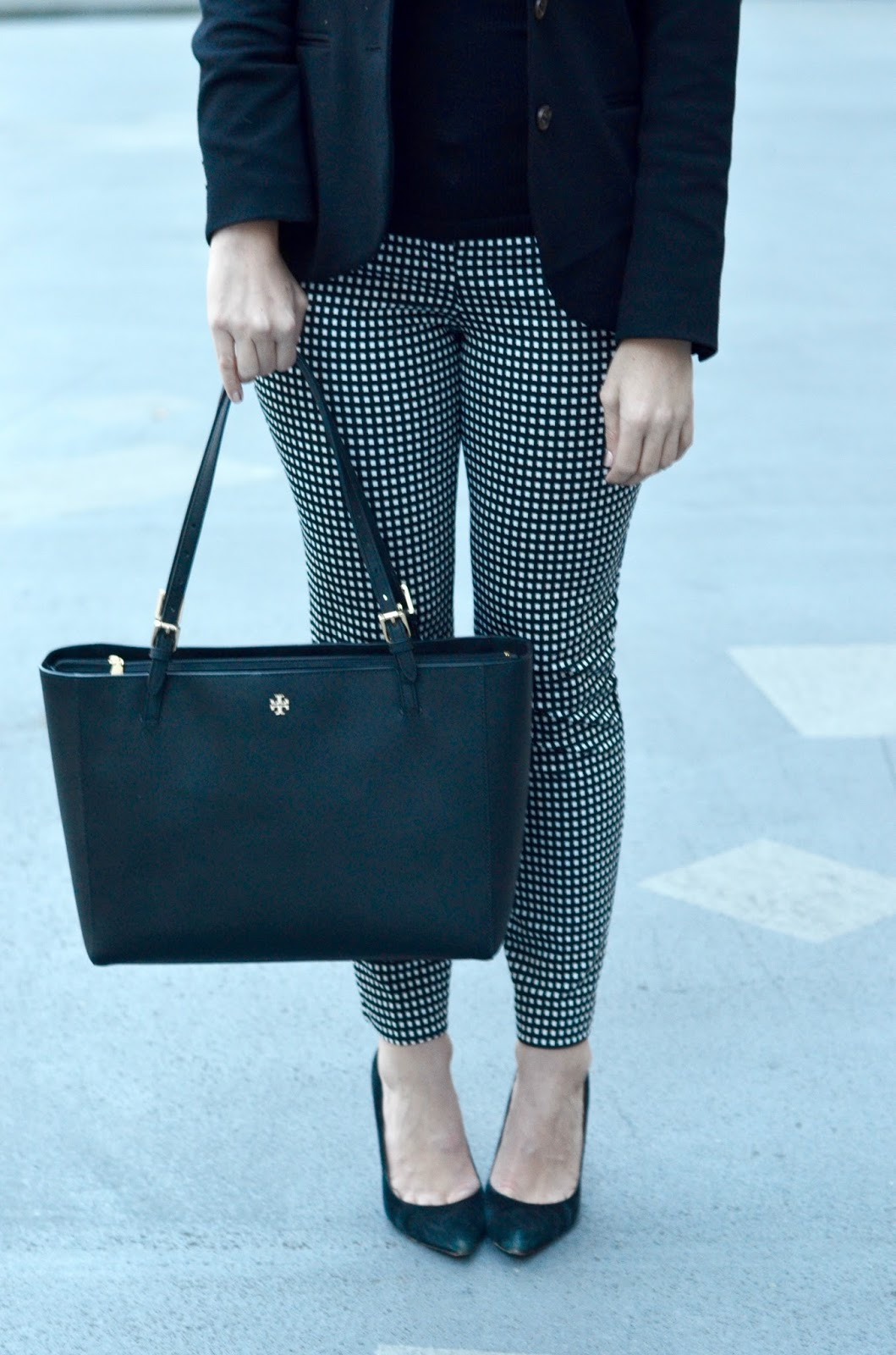 checkered pants and suede heels