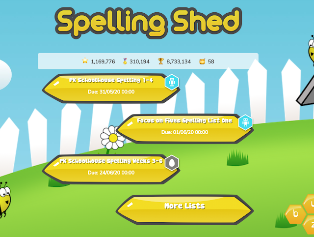 Spelling shed word lists selection page