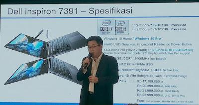 William Hartoyo, Product Marketing Manager Dell Indonesia memjelaskan spesifikasi Dell Inspiron 7391