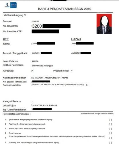gambar kartu pendaftaran cpns 2019