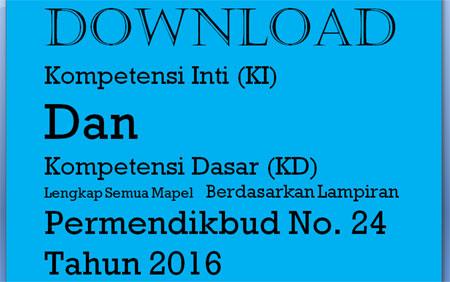 silakan download KI (Kompetensi Inti) dan KD (Kompetensi Dasar) Kurikulum 2013 terbaru untuk SD lengkap semua mapel