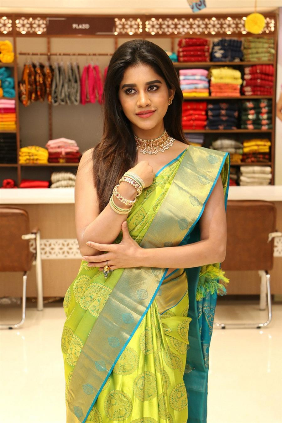 Nabha Natesh In Green Saree at Srika Shopping Mall launch