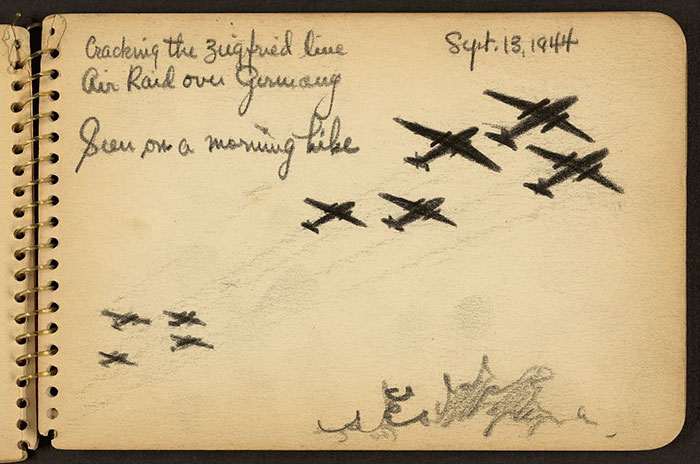 21-Year-Old WWII Soldier's Sketchbooks Show War Through The Eyes Of An Architect - Cracking The Zeigfried [I.E. Siegfried] Line, Air Raid Over Germany Seen On A Morning Hike