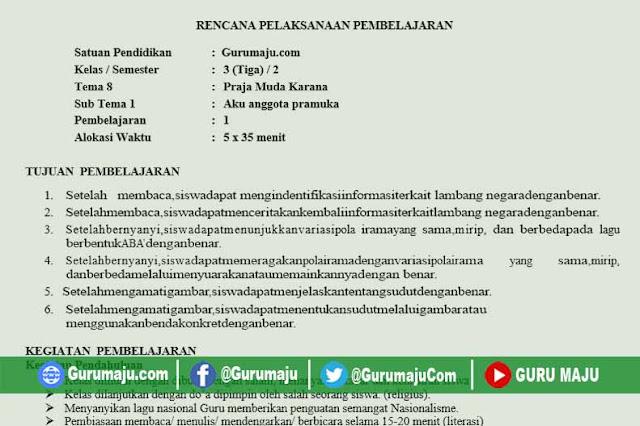 RPP Kelas 3 Tema 8 K13 Revisi 2020 Format 1 Lembar