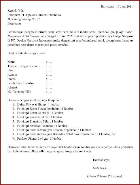 Contoh Application Letter Untuk Satpam (Fresh Graduate) Berdasarkan Informasi Dari Media Sosial