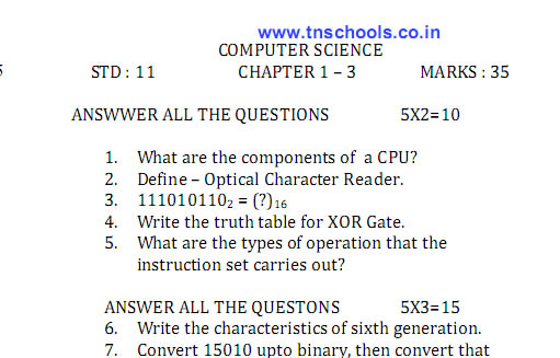 Download 11th Standard Computer Science Text Book in Pdf