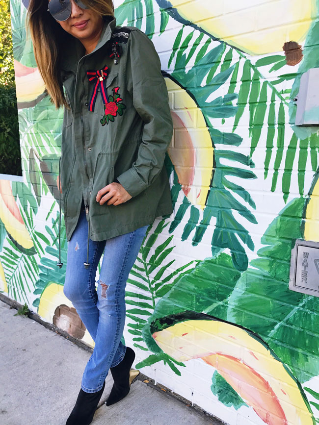 How to Style a Cargo Jacket, Cargo Jacket Style Steal, Cargo Embroidered Jacket, Best Chicago Mural, Avocado Wall Chicago,