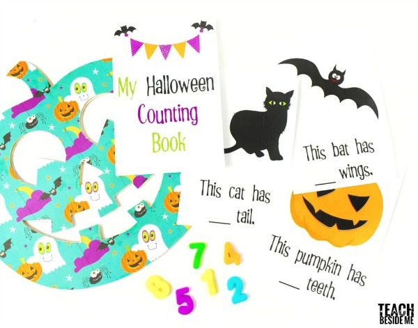 Practice numbers, writing and reading with this free halloween counting book