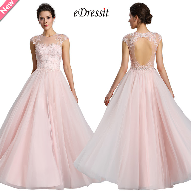 eDressit Illusion Neckline Beaded Tulle Prom Evening Dress