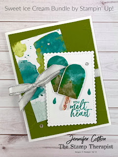 Sweet Ice Cream Bundle by Stampin' Up!.  I show how to make this popsicle card in my Facebook Live weekly video (link to same video on YouTube on the blog post).  #StampinUp #StampTherapist #SweetIceCream