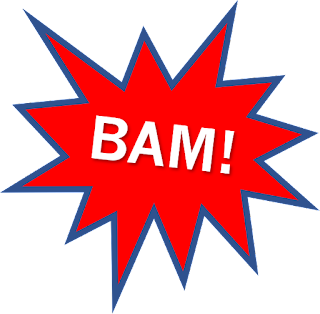 A red and blue explosion shape with BAM! in the middle.