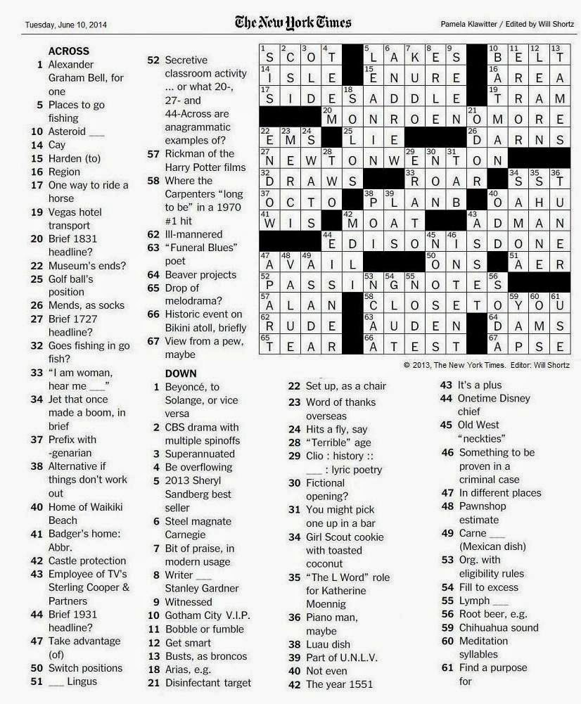 The New York Times Crossword in Gothic: 06.10.14 — Passing