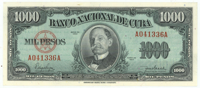 Cuba banknotes currency Silver Certificate 1000 Peso note