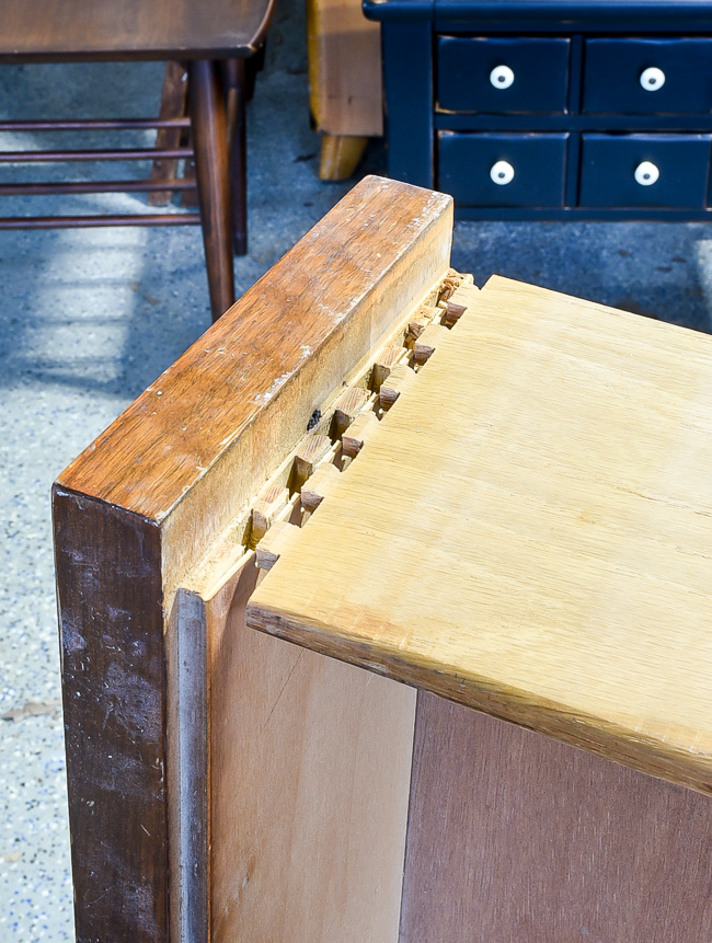Damaged and pulled apart dovetail joints
