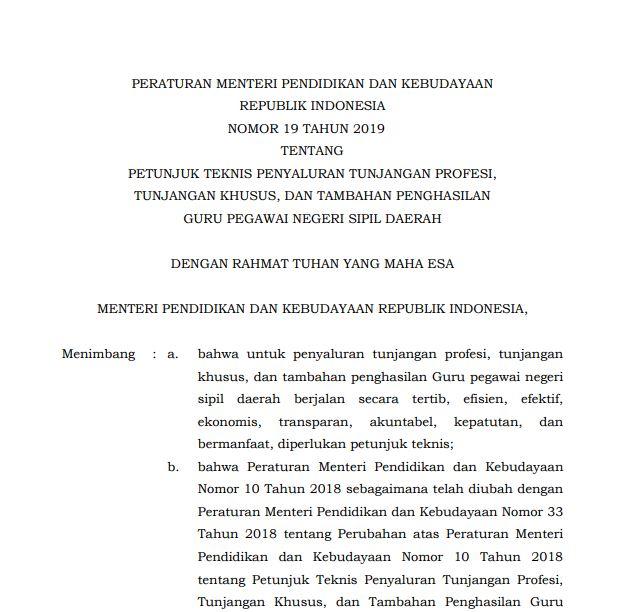 Peraturan Menteri Pendidikan dan Kebudayaan Nomor 19 Tahun 2019 tentang Petunjuk Teknis Penyaluran Tunjangan Profesi, Tunjangan Khusus, dan Tambahan Penghasilan Guru Pegawai Negeri Sipil