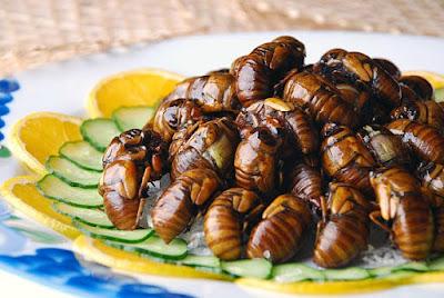 Fried Cicadas with Lemon and Cucumber