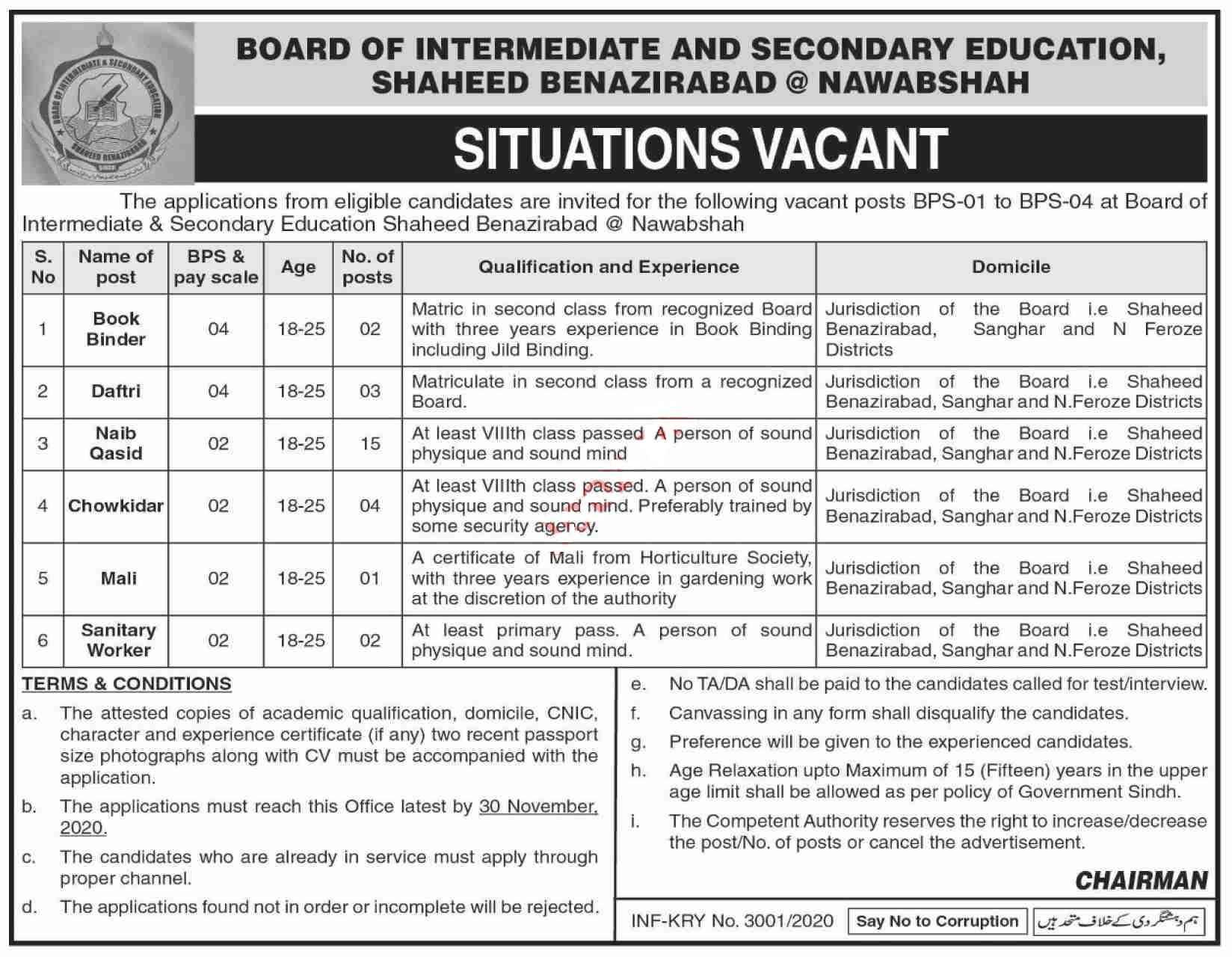 BISE Shaheed Benazirabad Jobs 2020 for Book Binder, Naib Qasid and more