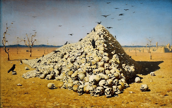 The Apotheosis of War by Vasily Vereshchagin, Macabre Art, Macabre Paintings, Horror Paintings, Freak Art, Freak Paintings, Horror Picture, Terror Pictures, Russian painter, Russian painting, Pintor ruso, Pintura rusa, Morbid art