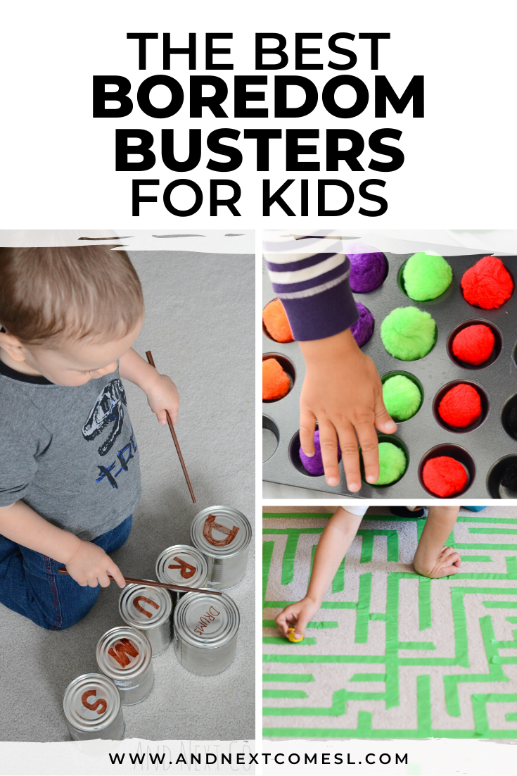 Boredom busters, indoor activities for toddlers and preschoolers, and busy bag ideas for kids