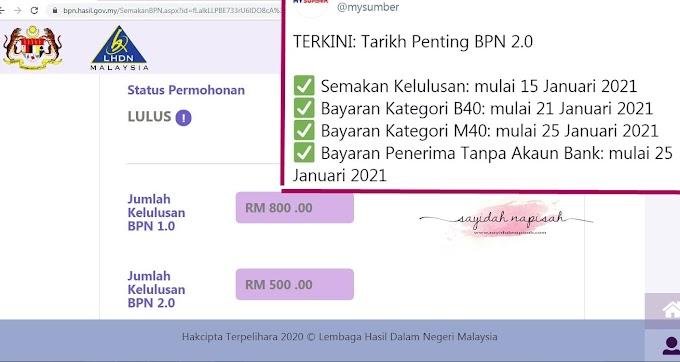 Cara Semak BPN 2.0 Lulus | Tarikh duit masuk & Penerima tanpa akaun Bank