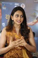 Rakul Preet Singh smiling Beautyin Brown Deep neck Sleeveless Gown at her interview 2.8.17 ~  Exclusive Celebrities Galleries 208.JPG