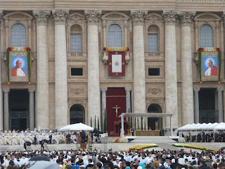 The Basilica of St Peter, in readiness for the joint-canonisation of Popes John XXIII and John Paul II in 2014
