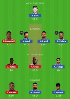 Dream11 team for India vs West Indies 1st Test Match | Fantasy cricket tips | Playing 11 | India vs West Indies dream11 Team | dream11 prediction |