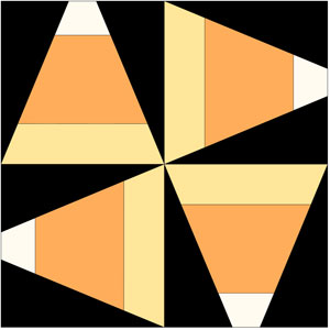 four candy corn quilt blocks rotated to make one large block by QuiltFabrication