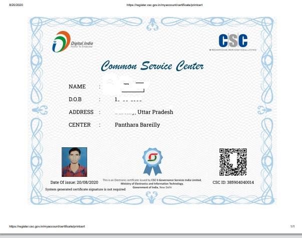 CSC Certificate Download